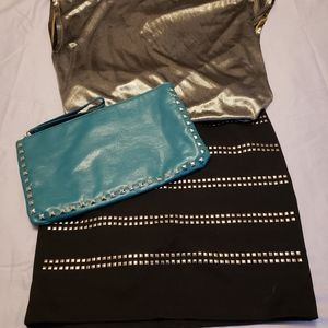 Handbags - 🎈3 for $36🎈Turquoise Clutch with Stud Details